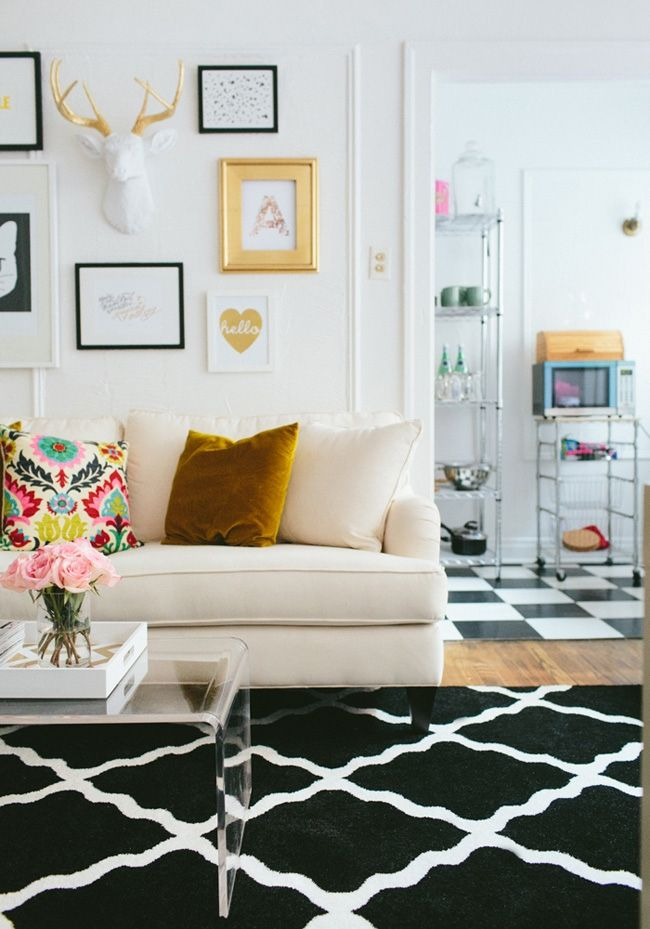 Decorar con estampados pierde el miedo lazareno estudio for Black and white with a pops of color bedroom ideas